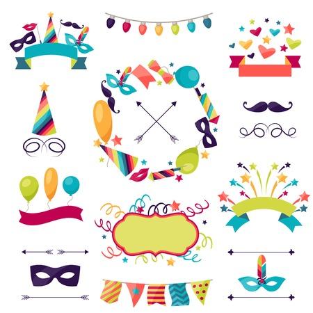 mascaras de carnaval: Celebración del carnaval conjunto de iconos, decoraciones y objetos.