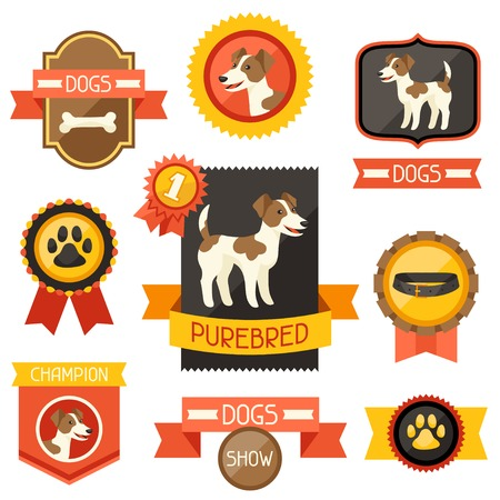 Badges, labels, ribbons with cute dogs, icons and objects. Vector