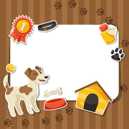 huellas de perro: Fondo con el lindo perro etiqueta, iconos y objetos.