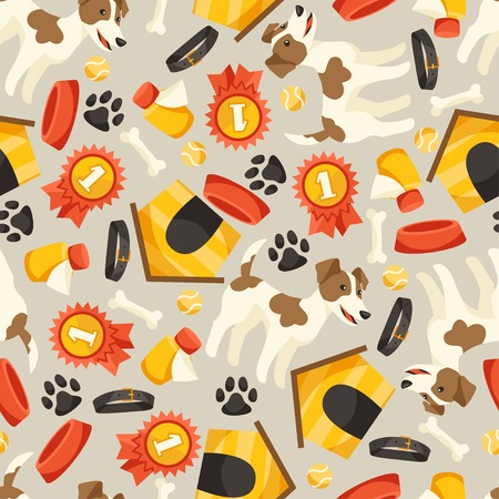 Seamless pattern with cute dogs, icons and objects. Vector