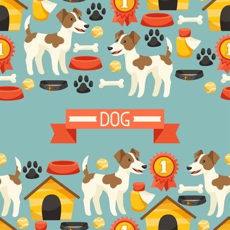 huellas de perro: Modelo incons�til con los perros lindos, iconos y objetos. Vectores