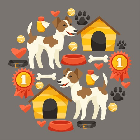 Set of icons and objects with cute dogs. Vector