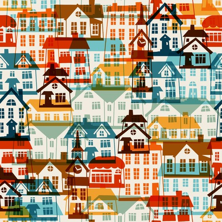 Town seamless pattern with cute colorful houses. Vector