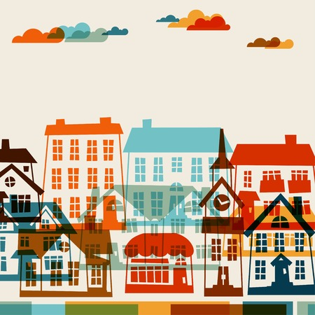 cute cards: Town background design with cute colorful houses. Illustration