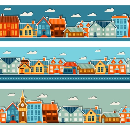 Town seamless patterns with cute colorful sticker houses. Vector