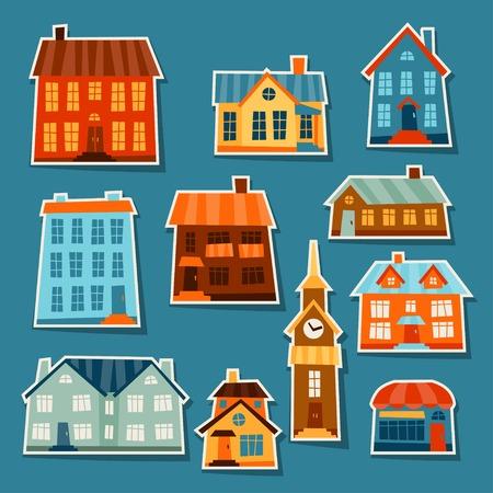 Icona Città Set di simpatici case colorate. Vettoriali