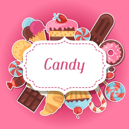 chocolate dessert: Background with colorful sticker candy, sweets and cakes.