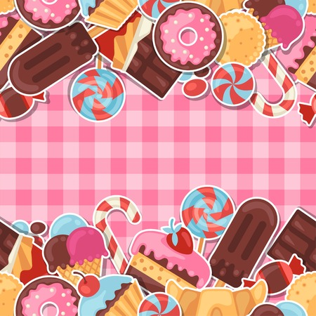 candy cane background: Seamless pattern colorful sticker candy, sweets and cakes.
