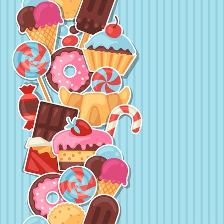 Seamless pattern colorful sticker candy, sweets and cakes. Vector