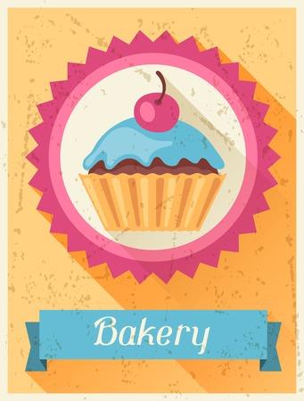 sweetmeats: Panader�a dise�o retro de fondo del cartel en estilo plano.
