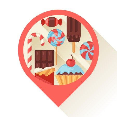 Navigation marker with colorful candy, sweets and cakes. Vector