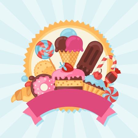 カラフルなお菓子、お菓子やケーキとの背景。