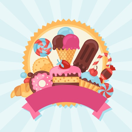Background with colorful candy, sweets and cakes.