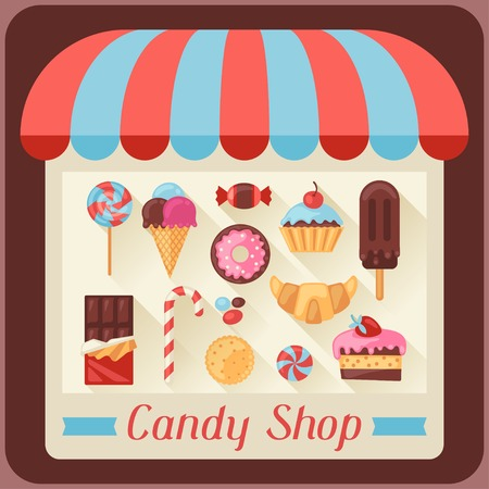 Candy shop background with candy, sweets and cakes. Vector