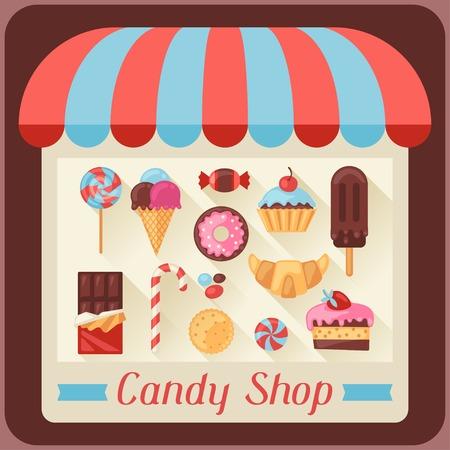 Fondo del caramelo tienda con caramelos, dulces y pasteles. Vectores