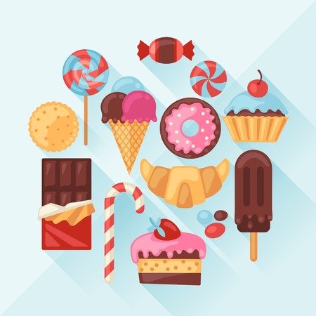 Set of colorful various candy, sweets and cakes. Vector