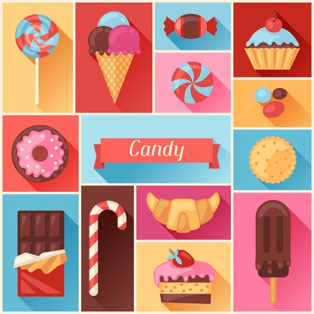 sweets: Background with colorful various candy, sweets and cakes. Illustration