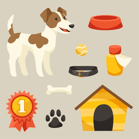 Set of icons and objects with cute dog. Vector