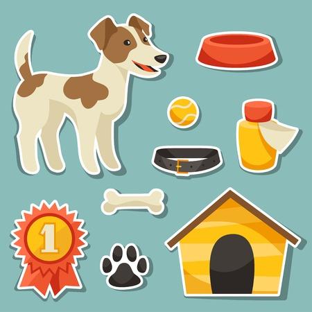 pelota caricatura: Conjunto de iconos de la etiqueta engomada y los objetos con el perro lindo.