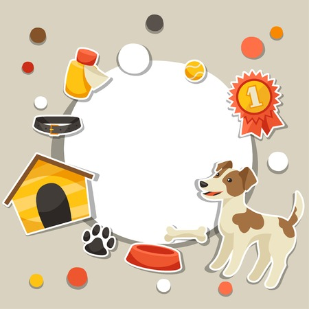 Background with cute sticker dog, icons and objects. Vector
