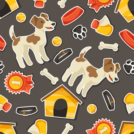 Seamless pattern with cute sticker dogs, icons and objects. Vector