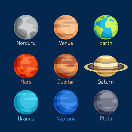 solar system: Cosmic icon set of planets solar system.
