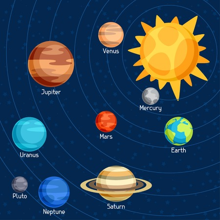 Cosmic illustration with planets of the solar system. Vector