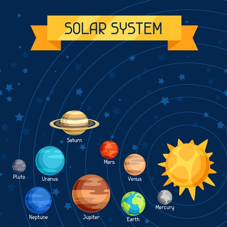 Cosmic illustration with planets of the solar system. Stock Illustratie