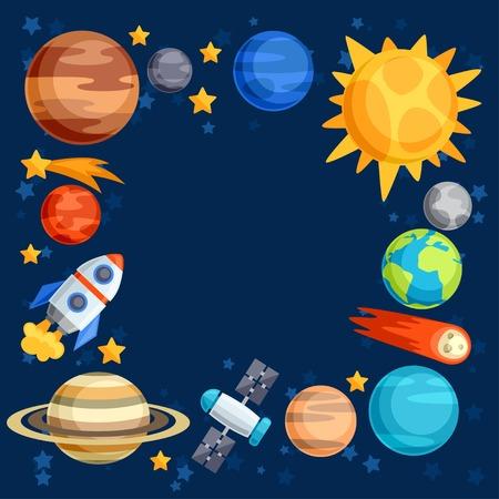 背景太陽系,行星和天體。