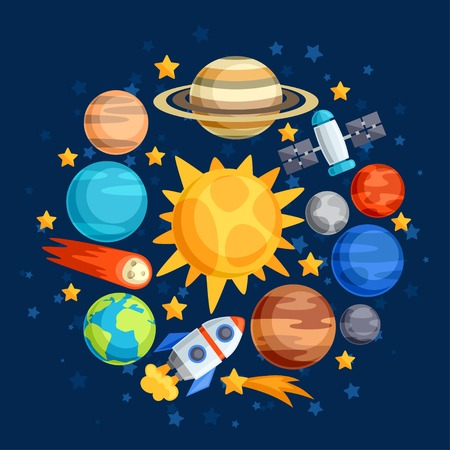 Background of solar system, planets and celestial bodies. Ilustração