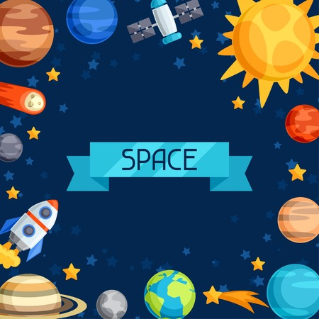 Background of solar system, planets and celestial bodies. Illustration