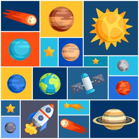 probe: Background with solar system, planets and celestial bodies.