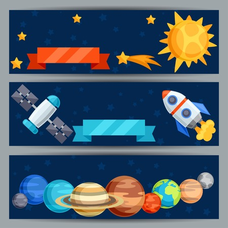 celestial body: Horizontal banners with solar system and planets.