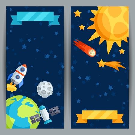 sonne mond und sterne: Vertical Banner mit Sonnensystem und Planeten. Illustration