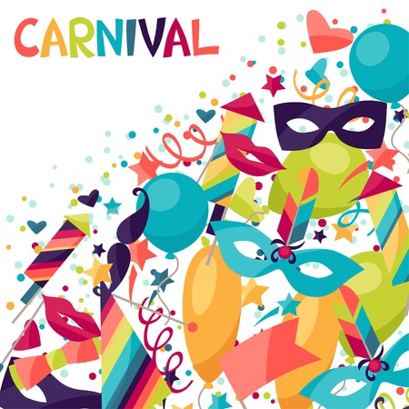 Celebration festive background with carnival icons and objects. Иллюстрация