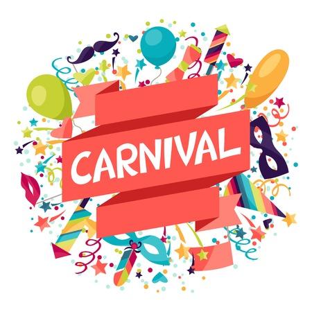 Celebración festiva de fondo con iconos y objetos de carnaval.