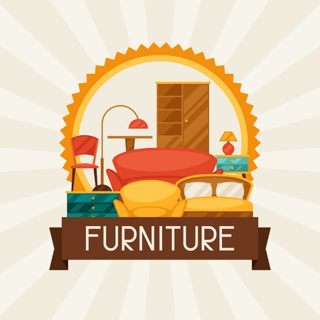 furnishing: Interior background with furniture in retro style.