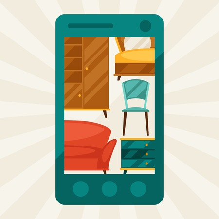 Illustration with mobile phone and furniture in retro style. Vector