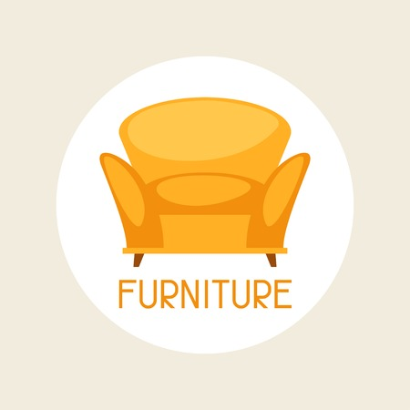 Interior illustration with furniture in retro style. Vector