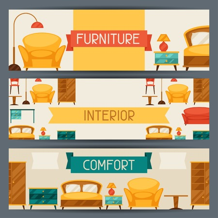 bedroom interior: Interior horizontal banners with furniture in retro style.