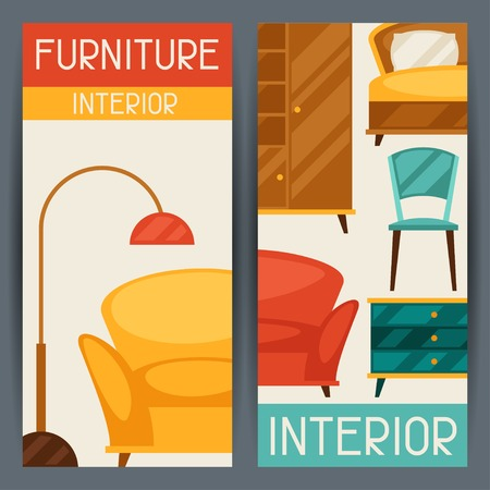 Interior vertical banners with furniture in retro style. Vector