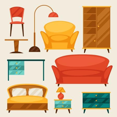Interior icon set with furniture in retro style. Illustration