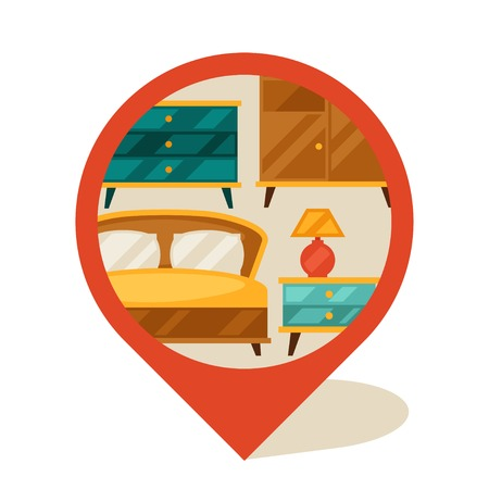 poster bed: Navigation marker with furniture in retro style. Illustration