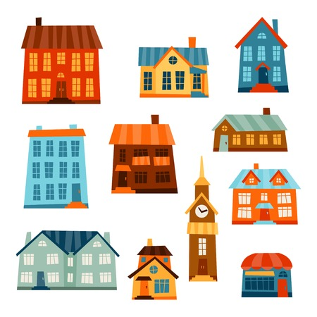 Town icon set of cute colorful houses. Vector