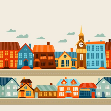 driveway: Town seamless pattern with cute colorful houses.