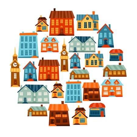 house market: Town icon set of cute colorful houses.