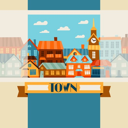 little town: Town background design with cute colorful houses. Illustration