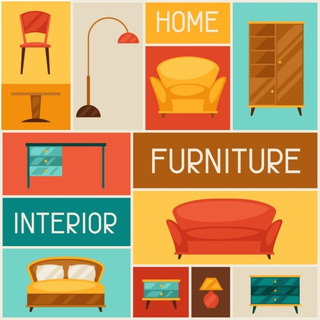 furniture: Interior background with furniture in retro style.