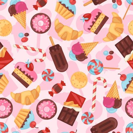 Nahtlose Muster Bunte verschiedenen Süßigkeiten, Bonbons und Kuchen.