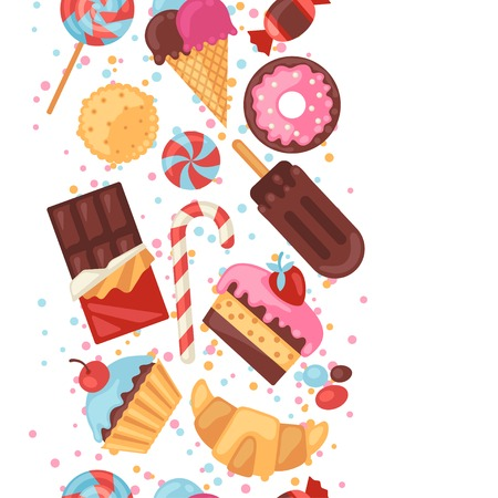 Seamless pattern colorful various candy, sweets and cakes. Vector
